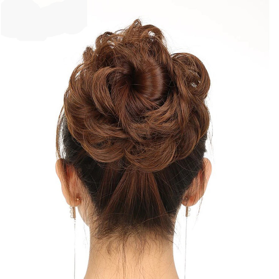 AliLeader 1PC Heat Resistant Donut Chignon Curly Hairpieces Black Brown Synthetic Chignons Updo Hair Bun Extension Wrap Ponytail