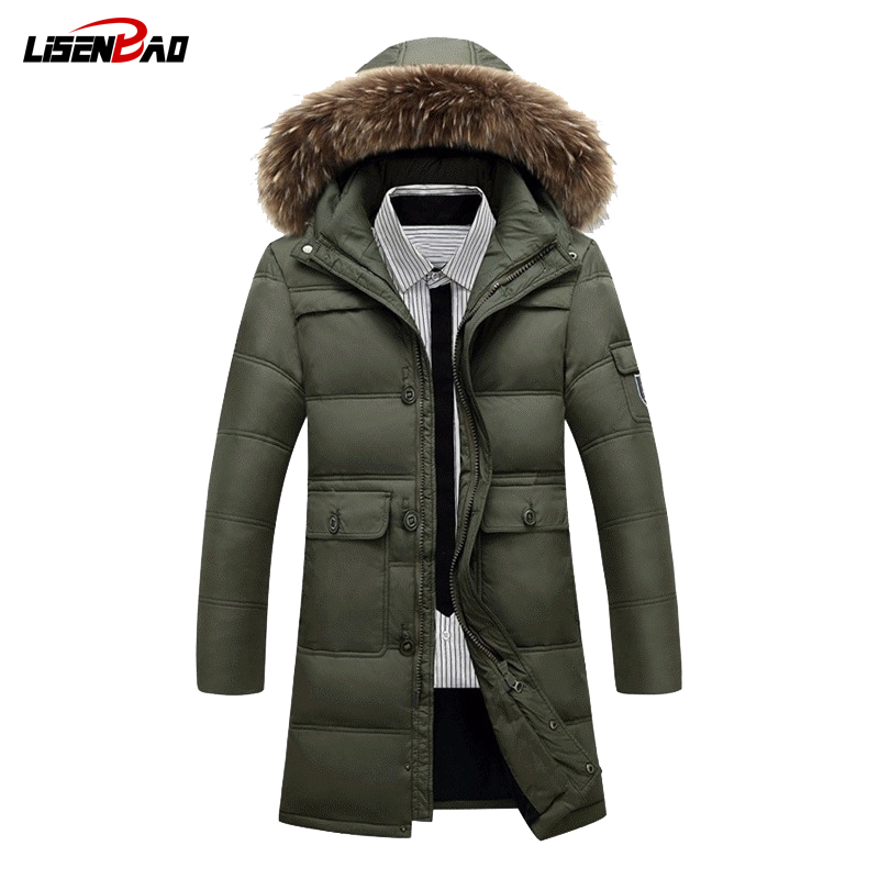 LiSENBAO 2017  New winter jacket men Casual solid color thickening in long coat mens jackets and coats button down 1015