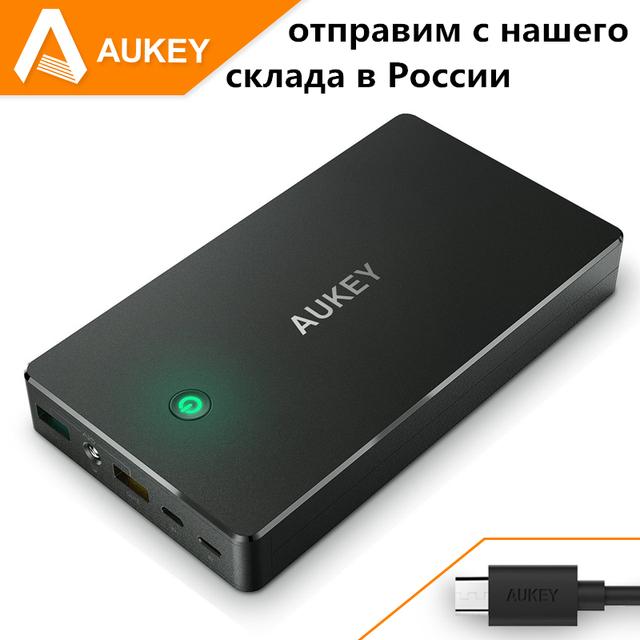 Aukey 20000 mah banco de potência portátil, estação de carregamento com dual usb móvel bateria externa para iphone, comprimidos powerbank