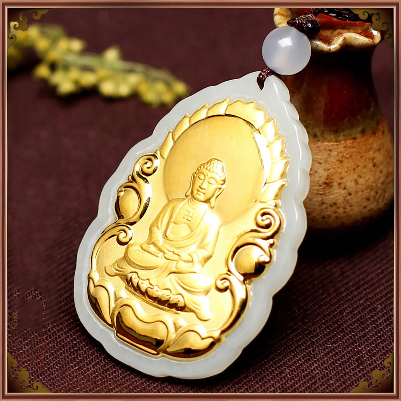 New Fine 24K Yellow Gold & Hetian Jade Perfect Buddha Man &Woman's Lucky Pendant 29*41*5mm