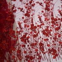 ブルゴーニュ手作り3d花柄刺繍入りアップリケフレンチレース生地用ブライ
