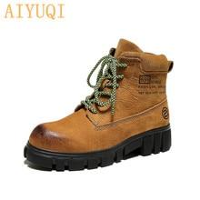 цены на AIYUQI 2019 Autumn  women motorcycle boots genuine leather casual lace up platform boots shoes female ankle boots for women в интернет-магазинах