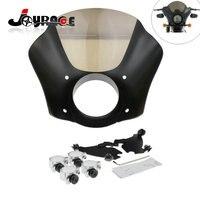 Front Gauntlet Headlight Fairing W Trigger Lock Mount Kit For Harley XL 1200 883