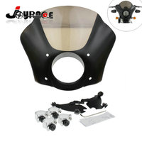 Front Gauntlet Headlight Fairing W Trigger Lock Mount Kit For Harley XL 1200 883