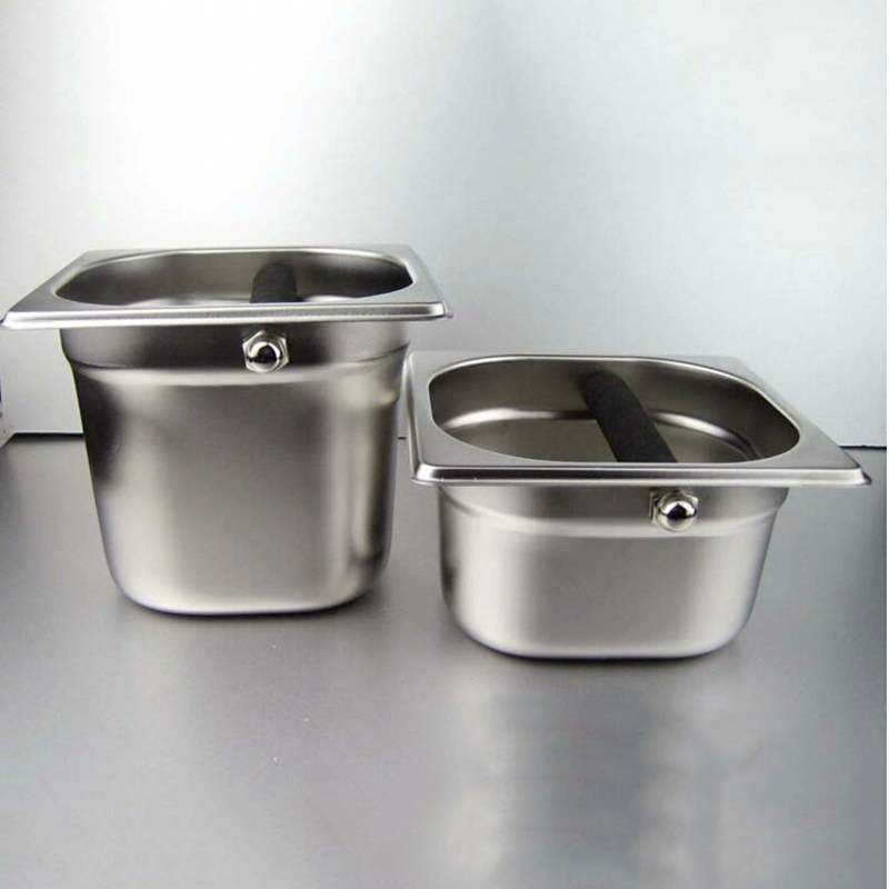 Stainless Steel Espresso Knock Box Container With Rubber Bar For Coffee Machine