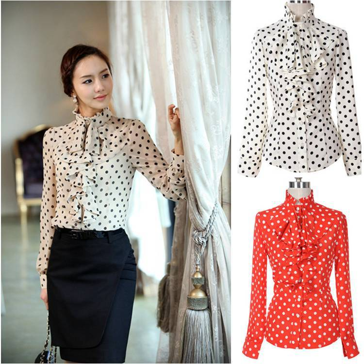 2015 spring autumn new women casual slim fit long sleeve for Slim fit polka dot shirt