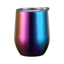 Стакан из нержавеющей стали 10 унций с двойными стенками Вакуумный Герметичный Небьющийся бокал для вина с герметичной чашкой для пикника# 5