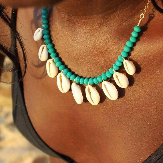 Artilady shell pendant necklace beads puka shell statement necklace