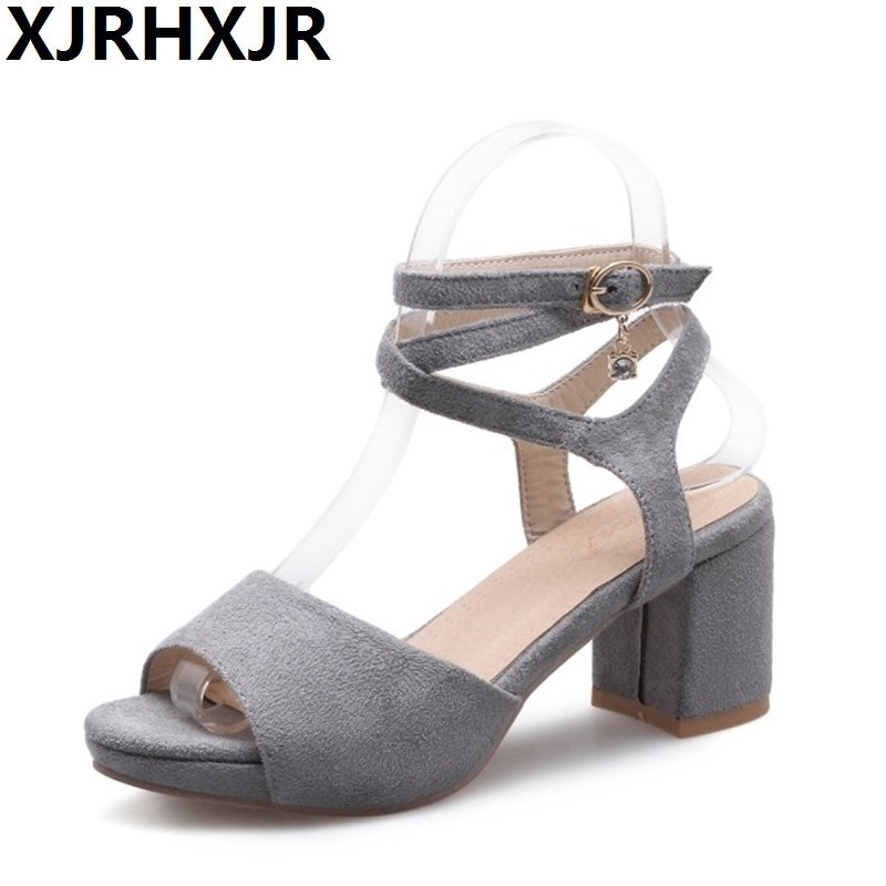 XJRHXJR Women's Summer Shoes Thick Heel Sandals Shoes Woman Flock Ankle Strap All Match Female Casual Summer Sandle Big Size 43 rome style rivet nature cow leather sandals 2017 ankle strap flat heel summer shoes woman black white big size 34 43