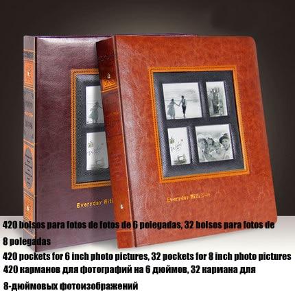 Fotoalbum pro velké fotografie Kapacita Vintage PU Kožená Rodina Foto Album Svatební promoce Baby Flush Mount Fotoalba