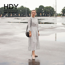 HDY Haoduoyi Spring Autumn Round Neck Long Sleeve Vestido White Chiffon Dot Loose  Dress Women Casual Beach Party Femme Dresses
