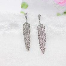 2019 Trendy plant leaf stud Earrings Silver needle Copper Alloy Semi-precious Stone jewelry Fashion for Woman Girl
