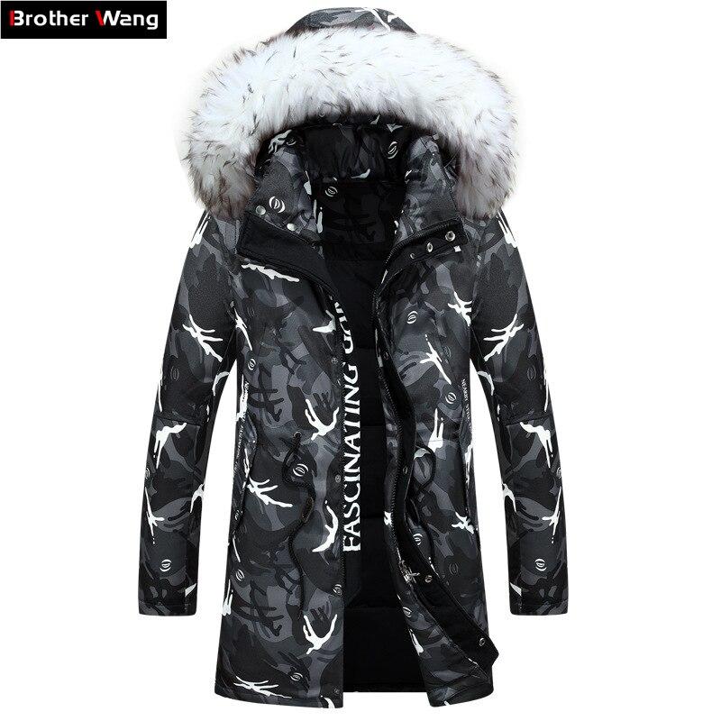 Новинка 2016, зимняя мужская куртка, модная, камуфляжный узор, длинная куртка, плотный повседневный пуховик с капюшоном, меховой ворот, с белым пухом утки, пальто