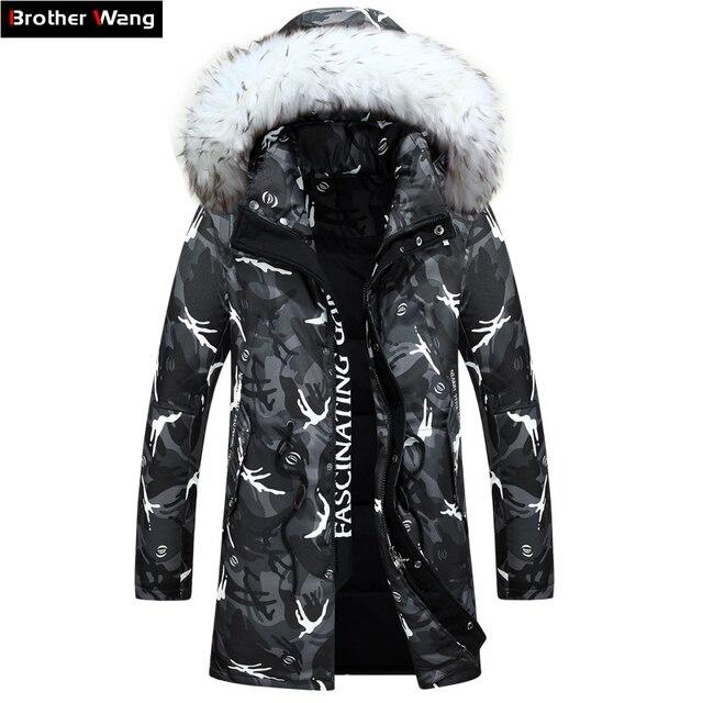 5b6997ec87aa Новинка 2016, зимняя мужская куртка, модная, камуфляжный узор, длинная  куртка, плотный