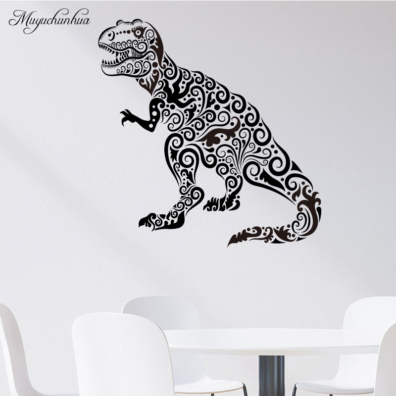 Muyuchunhua Tyrannosaurus Kids Room Decoration Vinyl Self Adhesive Wall Sticker for Bedroom Baby Room Adesivo De Parede
