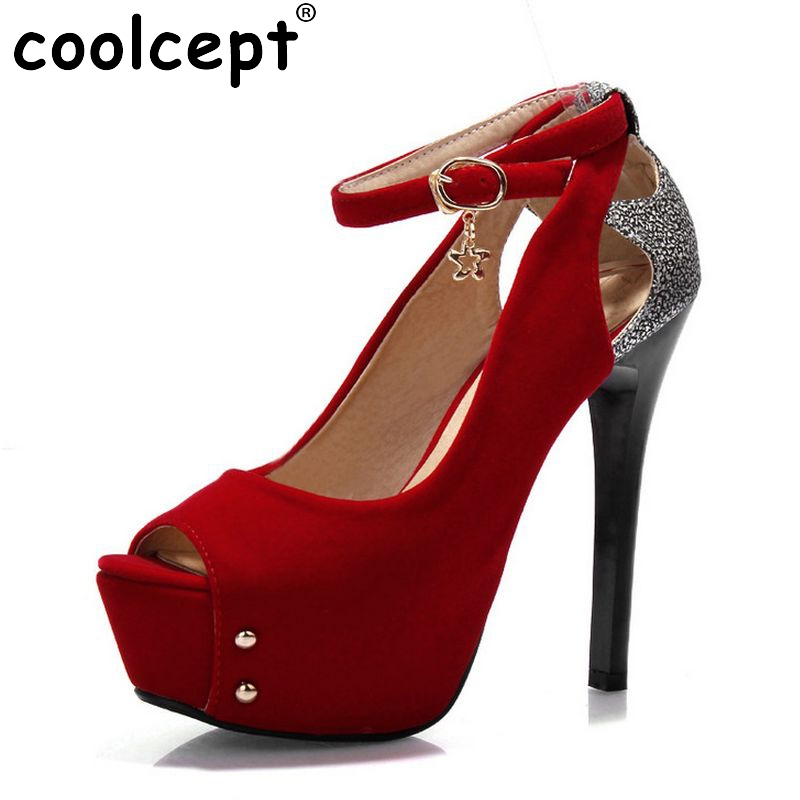 CooLcept free shipping peep open toe high heel shoes platform women sexy footwear fashion female pumps P14162 EUR size 34-43 цены онлайн