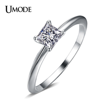 UMODE Wholesale Chinese Jewelry Rhodium plated Princess Cut 5mm 0.63ct AAA CZ  Women's Fashion 2015 Rings AUR0132
