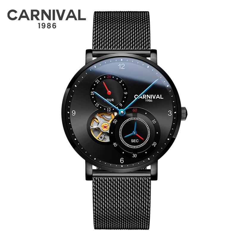 Carnaval nouveau Top hommes montres Top marque de luxe automatique mécanique montre hommes plein acier affaires étanche mode Sport montre