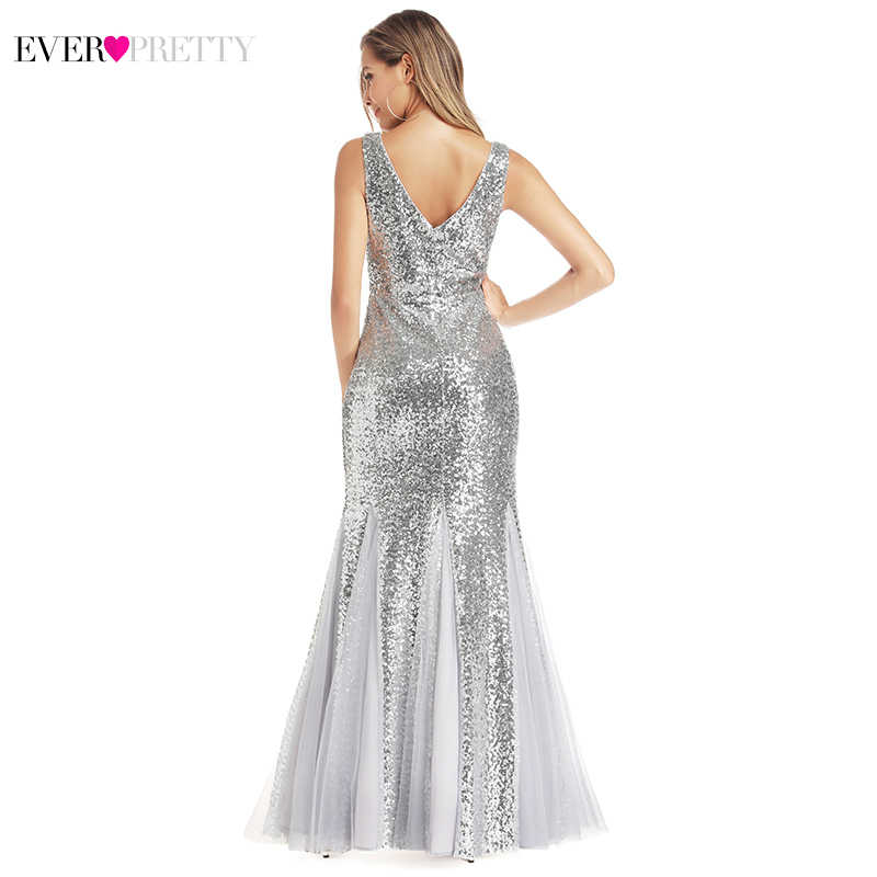 Ever Pretty Silver Evening Dresses Long V-Neck Sequined Sexy Formal Party Gowns Elegant Mermaid Dresses Robe De Soiree 2020