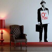 クールバンクシー引用帽子スーツマンビニールウォールステッカーデカール壁画壁紙寝室用リビングルームホームデコレーションアート45 × 130セン