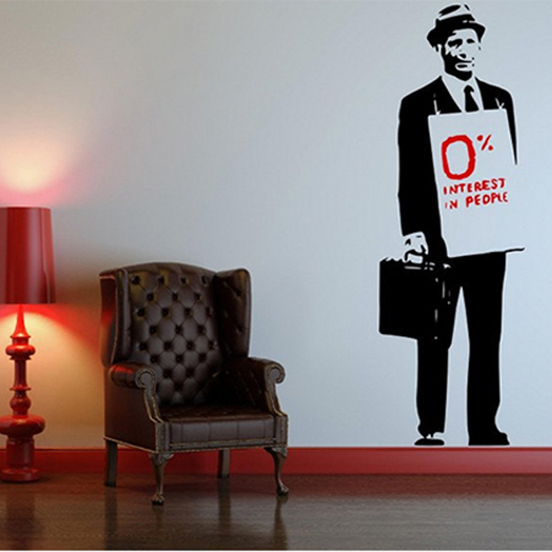 Cool Banksy Quote Hat Suit Man Vinyl Wall Sticker Decal Mural Wallpaper For  Bedroom Living Room
