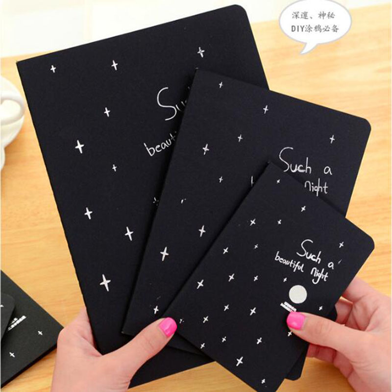 Creative Black Paper Notebook Diary Notepad 16K 32K 56K Sketch Graffiti Notebook For Drawing Painting Office School Stationery
