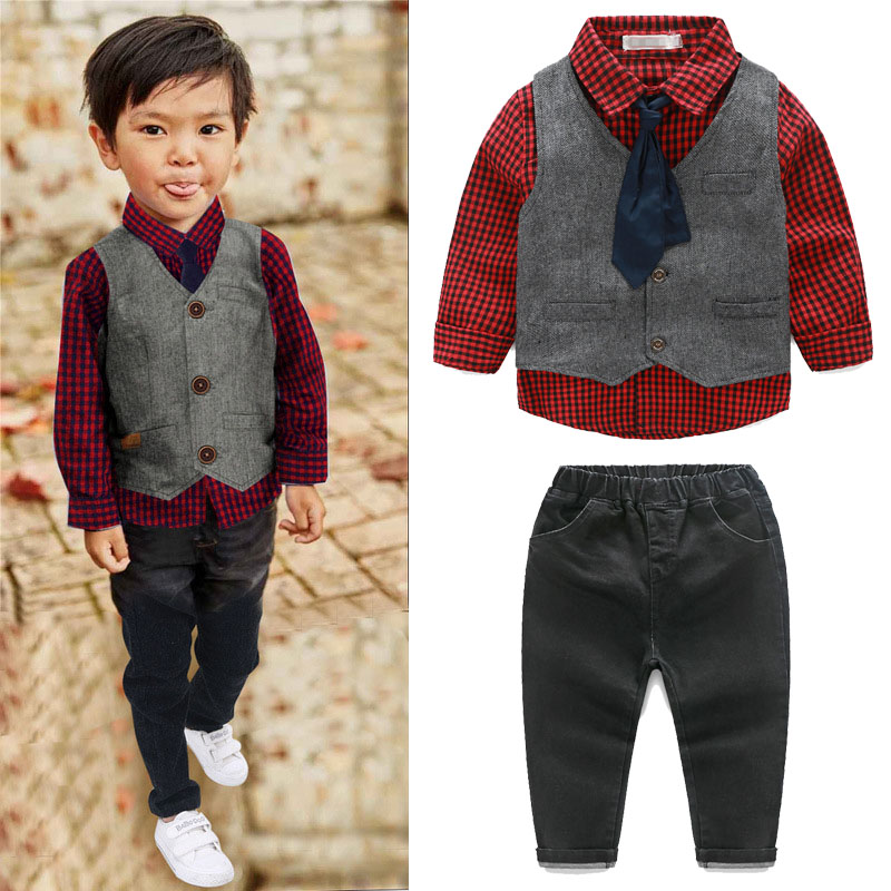 3PCS/Set Boys Clothes Children Clothing Gentleman Style Party Costume Man Outfits Tie+Shirt+Vest+Pant Kids Clothes Boy suit A095 top and top children boys clothing sets vest shirt pants 3 pcs set gentleman kids boy party clothes suits