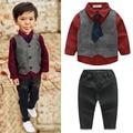 3PCS/Set Boys Clothes Children Clothing Gentleman Style Party Costume Man Outfits Tie+Shirt+Vest+Pant Kids Clothes Boy suit A095