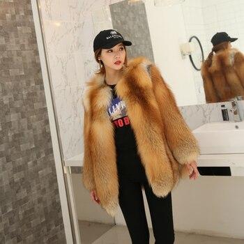 Red Fox Real Fur Women Regular Coat Whole Fox Skin Real Fox Fur Winter Thick Soft Warm Fire Fox Fur jacket фото