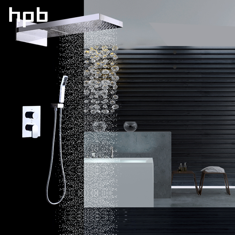 HPB Luxury 55X23cm Rainfall Shower Faucets Waterfall Shower System 3 Functions Bathroom Mixer Cold and Hot Water HP2210a