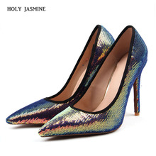 2019 New Arrival Autumn Womens Fashion Solid Sequined Cloth Shallow Party Shoes Sexy Pointed Toe High Heels 11cm Women