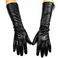 Long leather gloves sheepskin female touch screen 38 cm long thin cashmere lining armband protective cover Free shipping