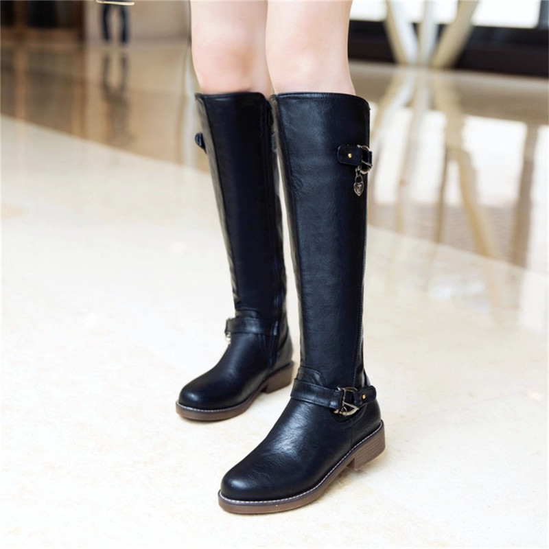 Ymechic Plus Size Womens Knee High Boots Female Black Brown Shoes Block Chunky Low Heels Long Knight Riding Boot Botas Autumn-In Knee-High Boots -4654