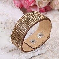 6pcsLeather Bracelet Crystal Wrap Bracelets For Women Multilayer Long Bracelets& Bangles Ladies Braclet Fashion Jewelry