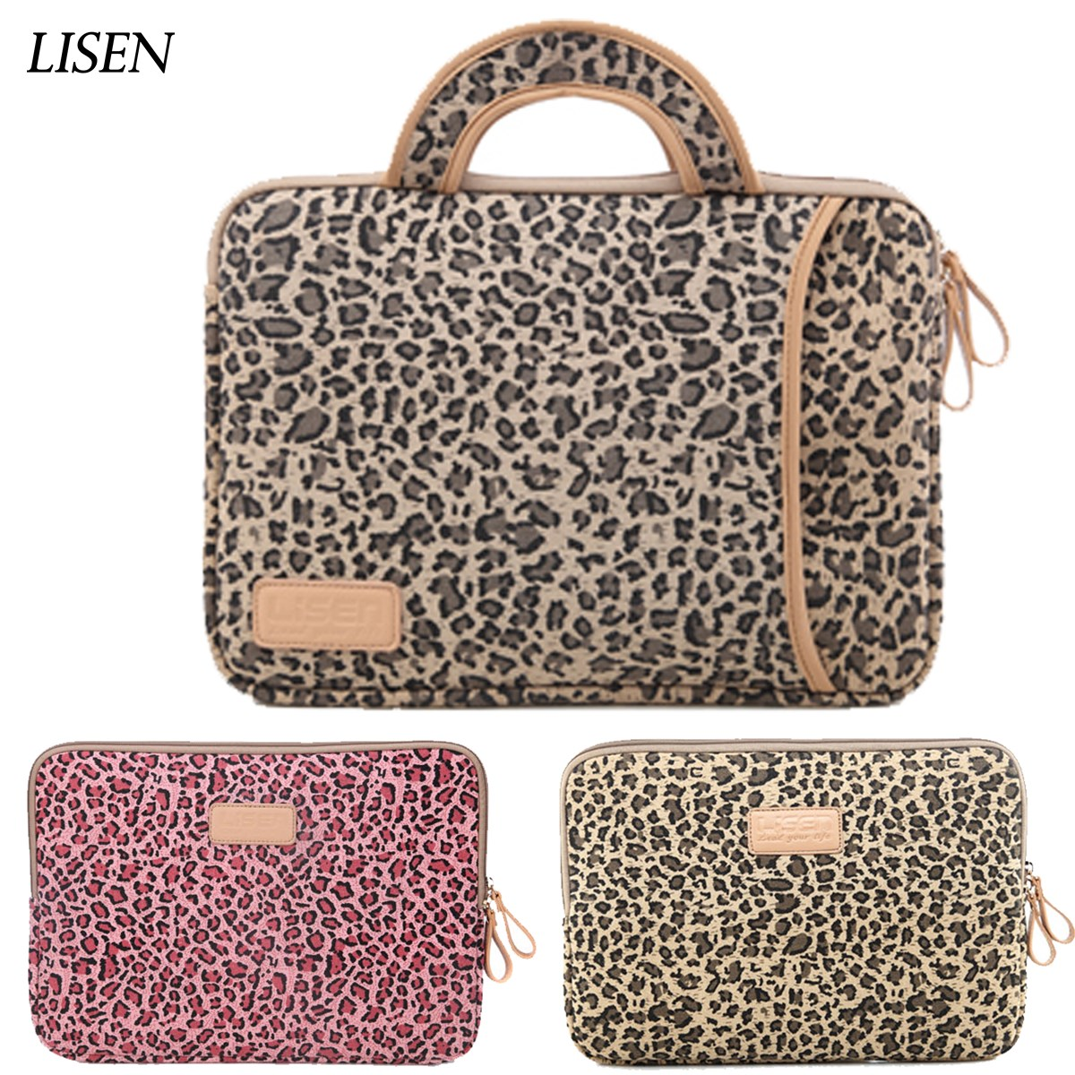 2018 new arrival leopard Laptop Bag Sleeve Case for Macbook air pro 11 13 14 15 for ipad 7.9 9.7 Cover Women Notebook handbag