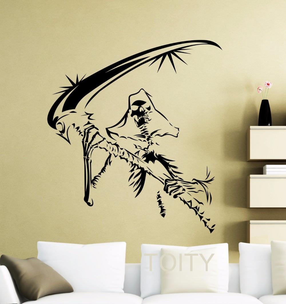 Grim Reaper Wall Sticker Black Death Vinyl Decal Dorm Club Home Room ...