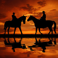 TOP ART WORK Painting American West Art Cowboys Horse Setting Sun Print Oil Painting On Canvas
