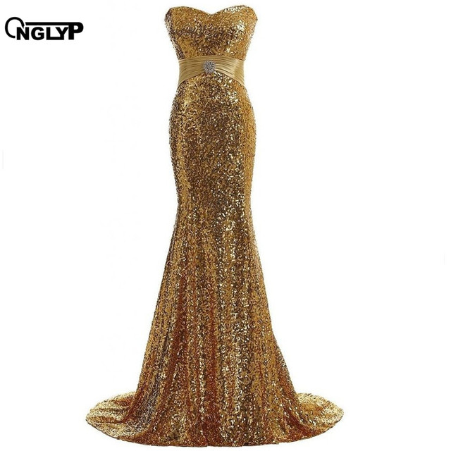 ONGLYP Plus Size Gold Mermaid Evening Long Dress Strapless Bling ...