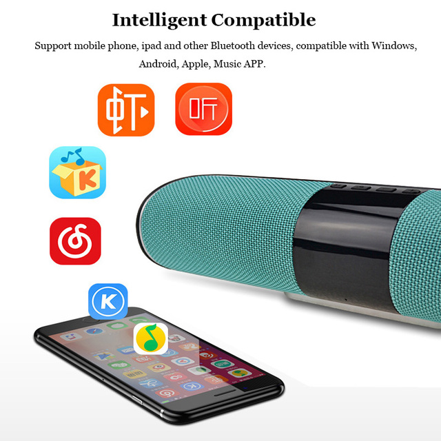 HLTON Portable HIFI Wireless Bluetooth Speaker Handsfree Stereo FM AUX TF Card Wireless Boombox Super Bass With Mic Loudspeaker