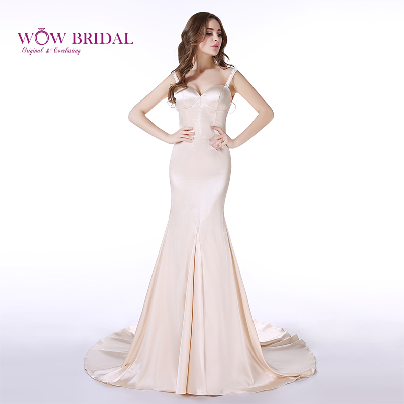Wowbridal Elegant White Gold Prom Dress