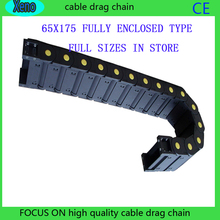 65*175 10Meters Fully Enclosed Type Plastic Towline Cable Drag Chain Wire Carrier With End Connects For CNC Machine 18mm x 50mm r38 plastic towline cable drag chain wire carrier 102cm length for engraving cutting machine transmission chains