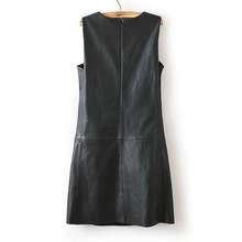 3XL 4XL 5XL 6XL Plus Size Dress Winter Women Faux PU Leather Straight Sleeveless Knee-Length  Dress