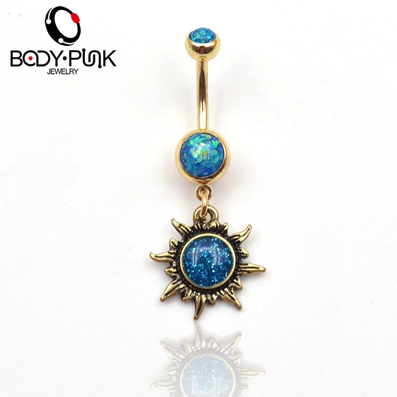 BODY PUNK Gepolijst Goud Zon Piercings Sieraden Navelring Navelringen - Mode-sieraden - Foto 2
