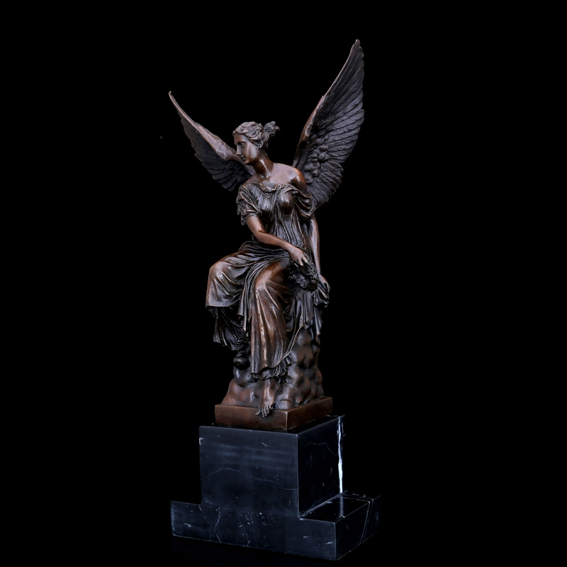 ATLIE Bronze Western Athena Sculpture Greek Myth Bronze Winged Victory Lady Goddess Statues Figurines Hotel Decoration Gifts in Statues Sculptures from Home Garden