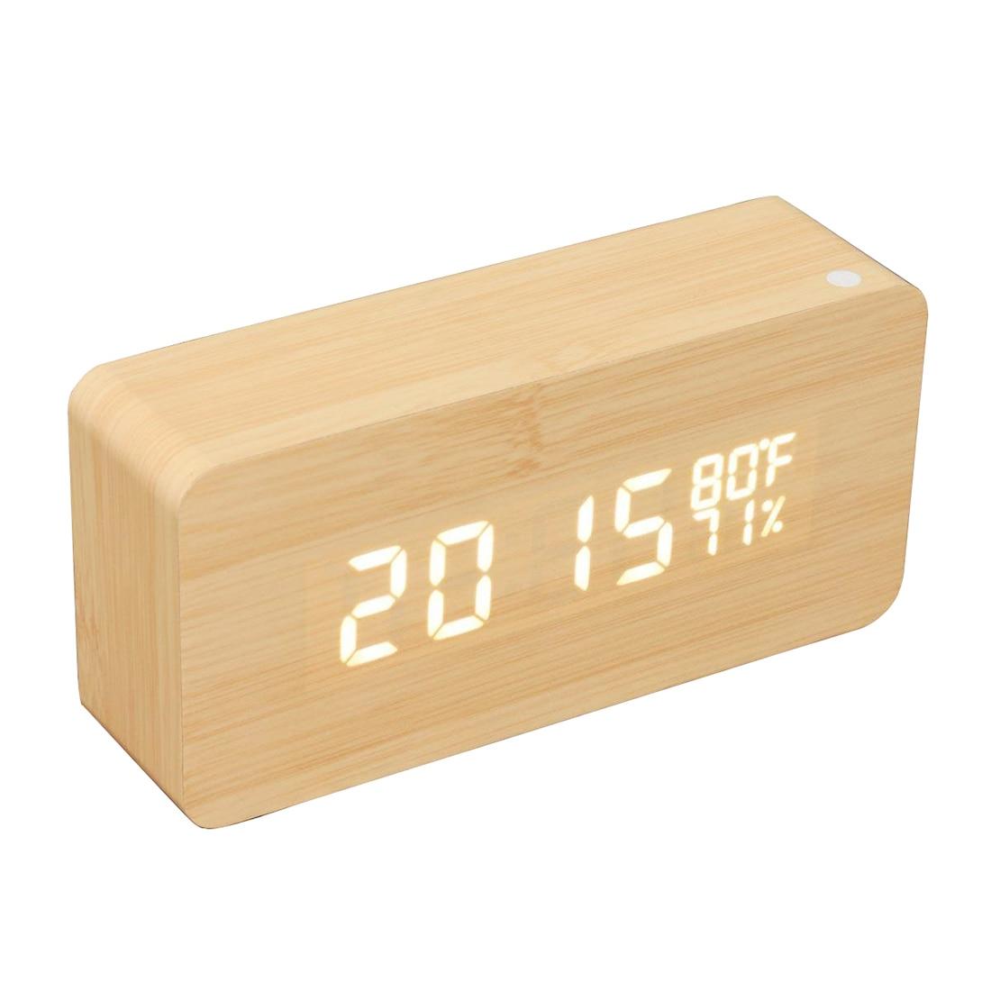 Wooden Alarm Clock Voice Control Time / Temperature / Humidity / Calendar Adjustable Brightness Battery / USB Socket Decoration