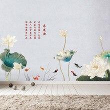 80*180cm pegatinas de pared de vinilo loto grande DIY estilo chino flor sala de estar dormitorio decoración del hogar cartel Vintage