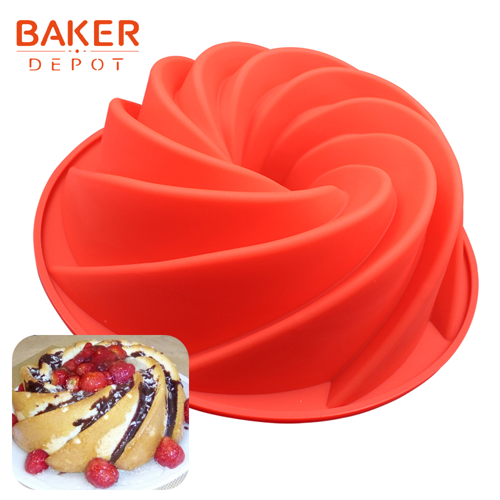 <font><b>BAKER</b></font> <font><b>DEPOT</b></font> Silicone Big Cake Mold swirl shape Bread Bakeware Pastry mould pudding Baking Tool large birthday party cake pan image