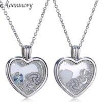 Moonmory Authentic 925 Sterling Bạc Nổi Sự Tim Locket Necklace Với Tinh Thể Thủy Tinh và Petite Yếu Tố Charms Jewelry