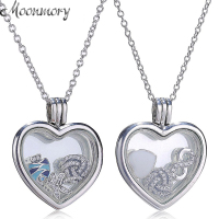 Moonmory Authentic 925 Sterling Silver Floating Heart Locket Necklace With Crystal Glass and Petite Elements Charms Jewelry