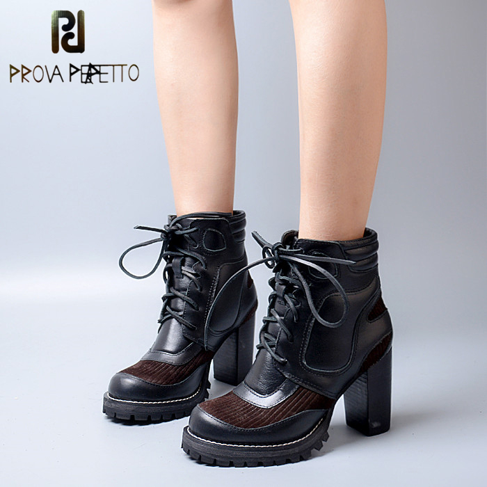 Prova Perfetto Euramerican Square High Heel Round Toe Winter Ankle Boots Genuine Leather Patchword Platform Women Short Boots nayiduyun women genuine leather wedge high heel pumps platform creepers round toe slip on casual shoes boots wedge sneakers